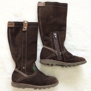 KICKERS Chocolate Brown Pull On w/ Zip Tall Boot